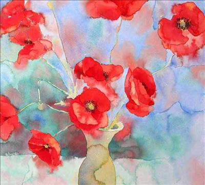 Poppies in Green Vase