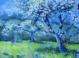 Apple Blossom, Devon Village by Laura Boyd, Painting, Oil on Board