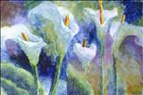 Arum Lillies by Laura Boyd, Painting, Acrylic on board