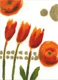 Mandarin Tulips I by Laura Boyd, Painting, Monoprint