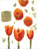 Mandarin Tulips II by Laura Boyd, Painting, Monoprint