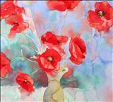 Poppies in Green Vase by Laura Boyd, Painting, Watercolour on Paper