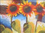 Sunflowers by Laura Boyd, Painting, Acrylic on board