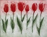 Tulip Parade by Laura Boyd, Drawing, etching on paper