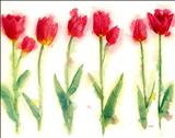 Tulips Line Up by Laura Boyd, Painting, Watercolour