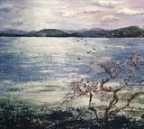 Winter Estuary Devon by Laura Boyd, Painting, Acrylic on paper