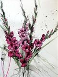 "gladioli ""lipstick"" by Laura Boyd, Painting, ink and watercolour"