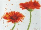 orange gerberas 1 by Laura Boyd, Painting, watercolour and gouache