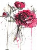 peonies by Laura Boyd, Painting, ink and watercolour