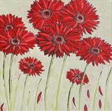 red gerberas by Laura Boyd, Painting, Oil on canvas
