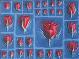 rose grid by Laura Boyd, Painting, Oil on canvas